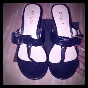 Guess Black Leather Wedges 6